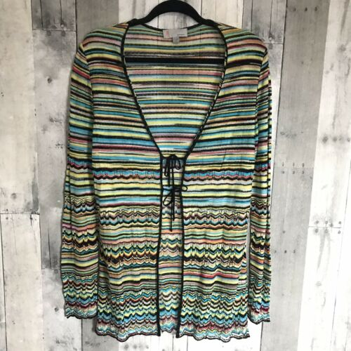 M MISSONI Sz 10 Multi Color Stripes Knit Cardigan