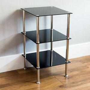 3 Tier Glass Shelf Unit Black Shelving Storage Square Modern Furniture