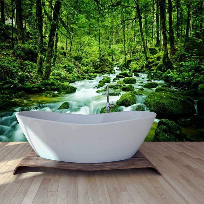 Grüner Wald Wandbild Regenwald Strem Foto-Tapete Natur Wohnkultur
