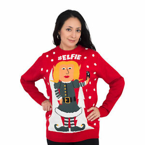 627f99872956 Elfie Hashtag Elf Women s Full Body with Snowflakes Red Ugly ...
