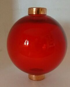Red-Glass-Lightning-Rod-Ball-Roof-Home-Cabin-Decor
