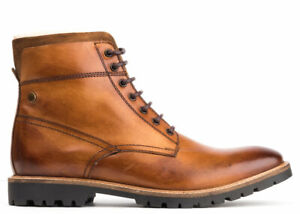 Mens-Base-London-Tan-Mortar-Walking-Leather-Shearling-Winter-Boots-9-43-New
