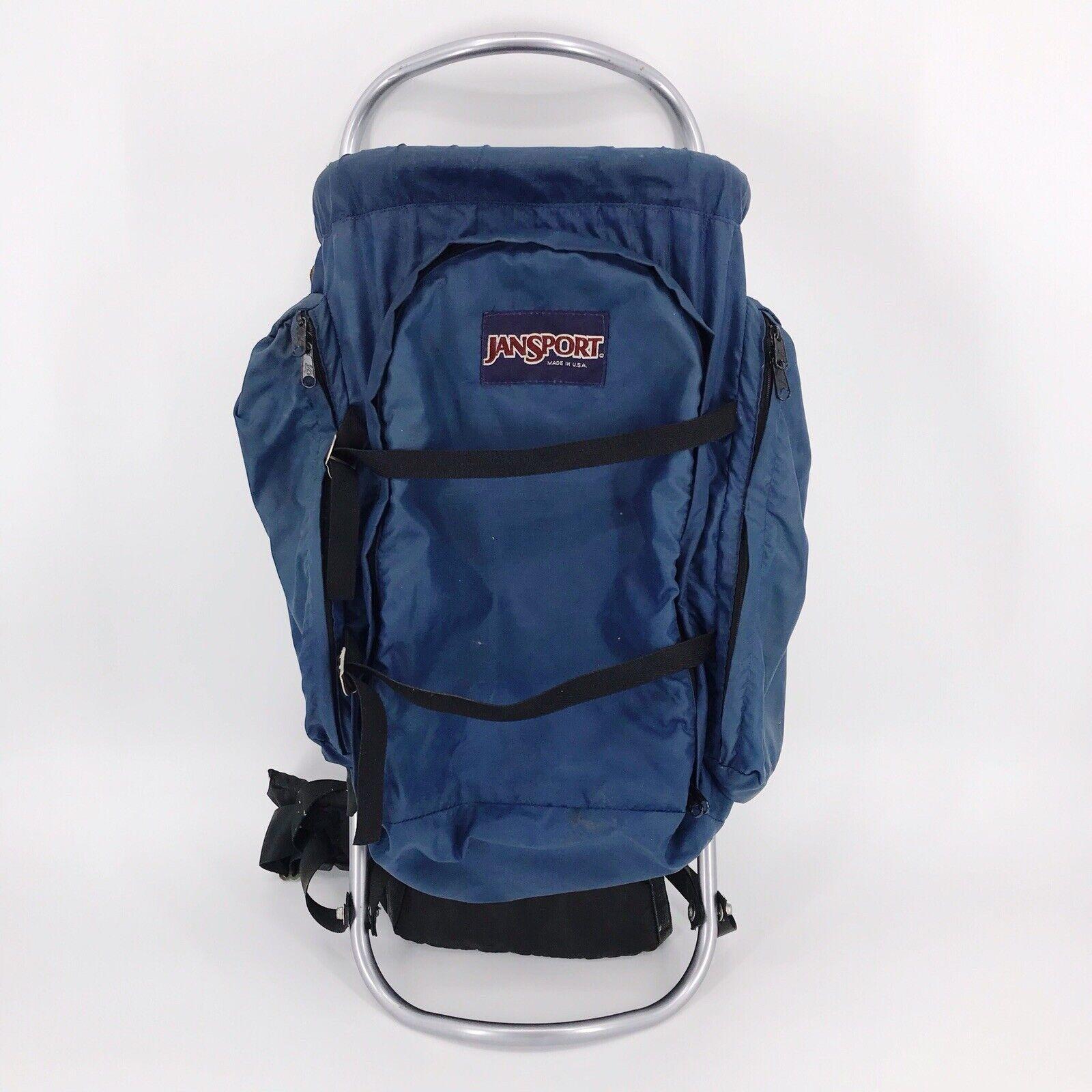Vintage Jansport External Frame Hiking Camping Backpack Hip Wings Blue USA Made