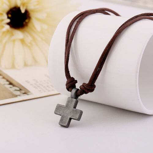 Cross Leather Necklace for Men Women Pendant Necklaces Fashion Jewelry Textured