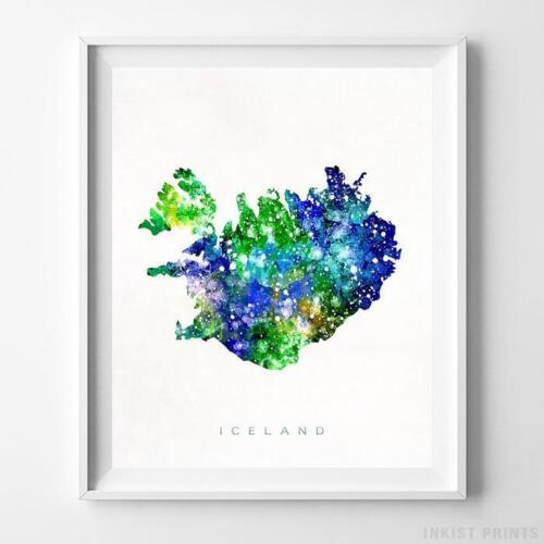 Iceland Watercolor Map Wall Art Home Decor Poster Artwork Gift Print UNFRAMED