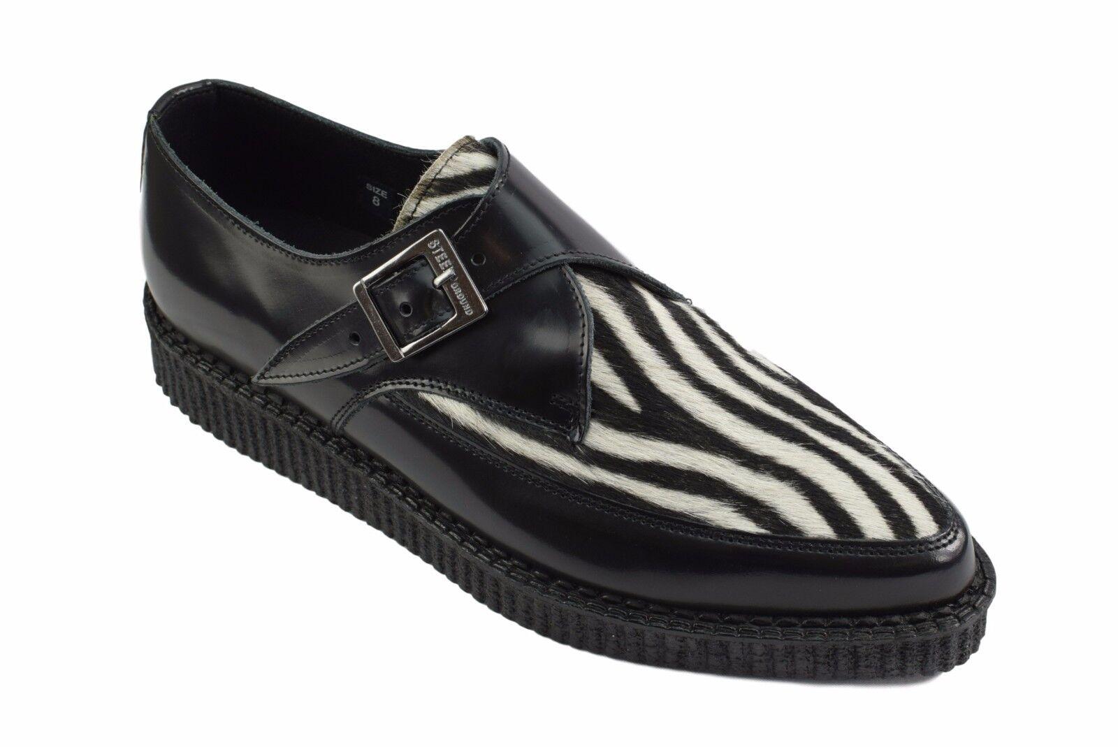 Acier Sol Chaussures en Cuir Noir Zèbre Blanc Cheveux creepers Moine Boucle Pointu