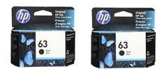 HP #63 Black Ink Cartridge 2 pack NEW GENUINE