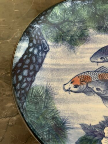 JAPANESE KOI FISH POND PLATE Vintage Hand-Decorated Painted Floral Porcelain 6""