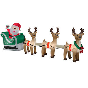 christmas santa sleigh reindeer sled airblown inflatable decoration