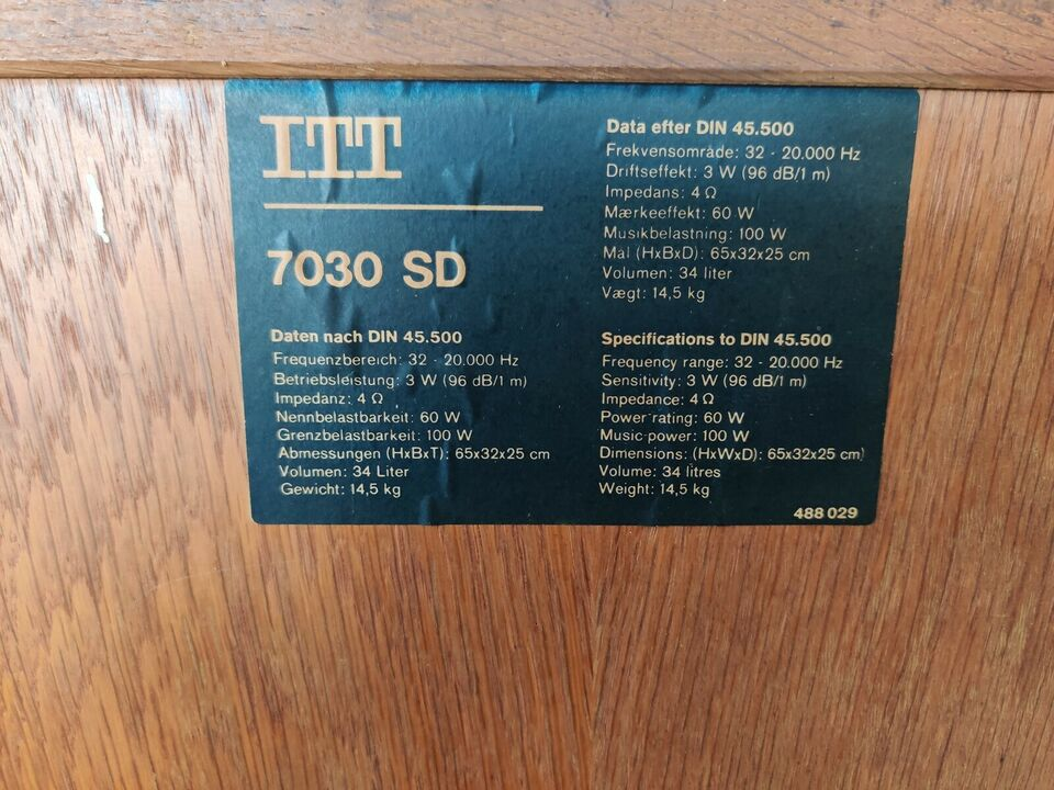 Højttaler, ITT, 7030 SD