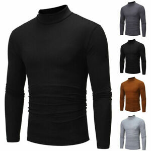 Tops-Long-Solid-Shirt-Neck-Casual-Plus-Slim-Sleeve-Size-Men-039-s-Fit-Turtle