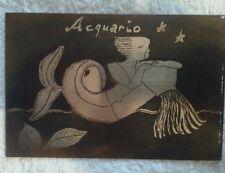 Incisione firmata TESTORE su rame raffigurante segno zodiacale acquario