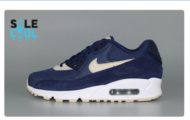 pretty nice 25017 2ae3f Nike Air Max 90 Womens' Shoes Binary Blue/Oatmeal/White 325213-410 SZ  5.5-7.5