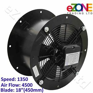 200mm Silent Industrial Extractor Fan 450m3//h Commercial Axial Ventilator