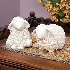*SET/2 PORCELAIN ROSEBUD SHEEP FIGURINES HOME DECOR NEW IN BOX HOME INTERIOR