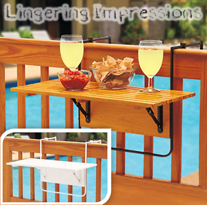 New wood folding deck table space save outdoor for Space saving hanging table for balcony