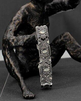 Bracelet Argenté Noir Art Deco Geometrique Cristal Mariage Retro CT1