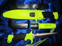 2in1 Tauchermesser + Tauchlampe Lampe Messer Tauchen Lampe Licht Rettungsmesser