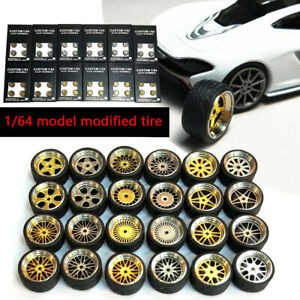 1-64-Scale-Alloy-Wheels-Custom-Hot-Wheels-Matchbox-Tomy-Rubber-Tires-10g