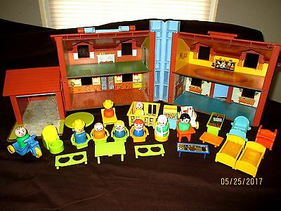 lot of vintage fischer price house little people furniture and accessories
