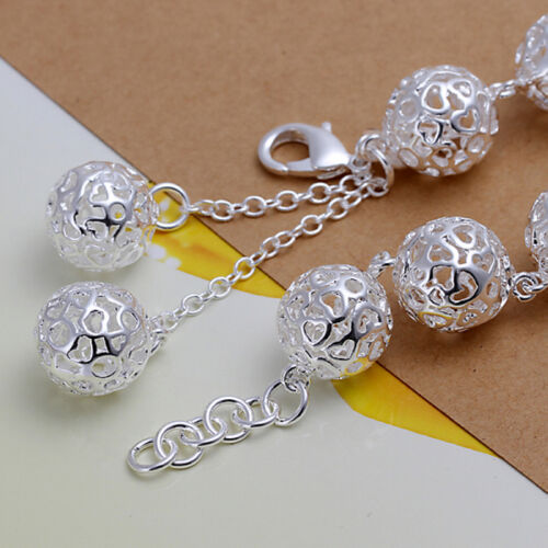925 Stamped Sterling Silver Filled SF Filigree Ball Link Charm Bracelet BL-A252