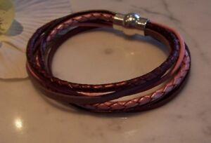 Echt-leder-armband Alt-rosa Braun Kupfer Magnet-verschluss – Wickelarmband