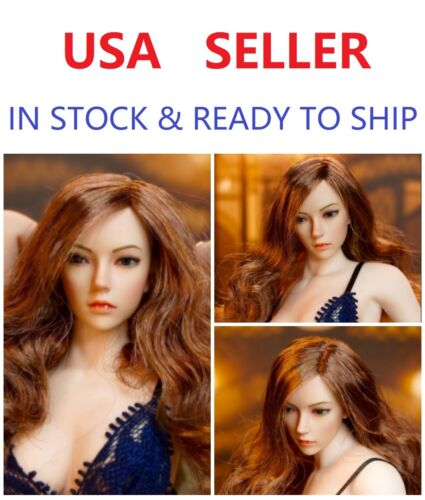 SUPERDUCK SDH002C 1//6 Female Long Curly Hair Head sculpt for PHICEN PALE BODY