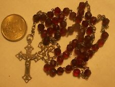 chapelet ancien cristal rouge grenat antique deep red crystal  rosary