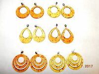 Yellow And Orange Speckled Assorted Dangle Earrings/circle/teardrops/trios