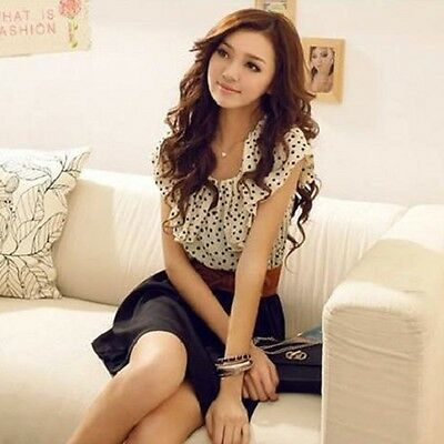 Women's Qualities Style Short Sleeve Chiffon Dots Polka Waist Mini Dress Belt
