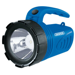 3W-LED-Rechargeable-Spotlight-Torch-BLUE-DRAPER-65985-camping-garage-home