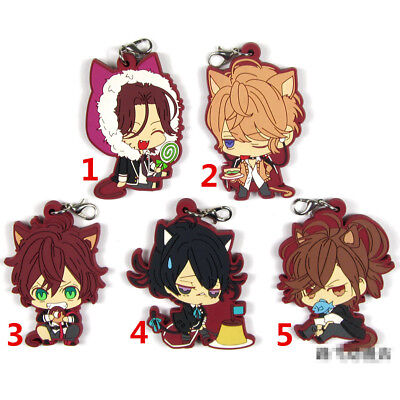 T1422 Anime DIABOLIK LOVERS rubber Keychain Key Ring Rare straps Cosplay