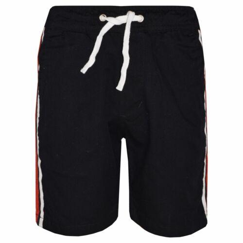 Kids Boys Girls Chino Shorts Contrast Taped Knee Length Half Pant 5-13 Years