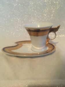 2 Pc Set Imperial Fine China Italian Design Tea Cup Dessert