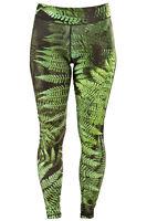 Womens Leggings Fern Leaf Green For Mma Training Running Fitness Cycling Gym