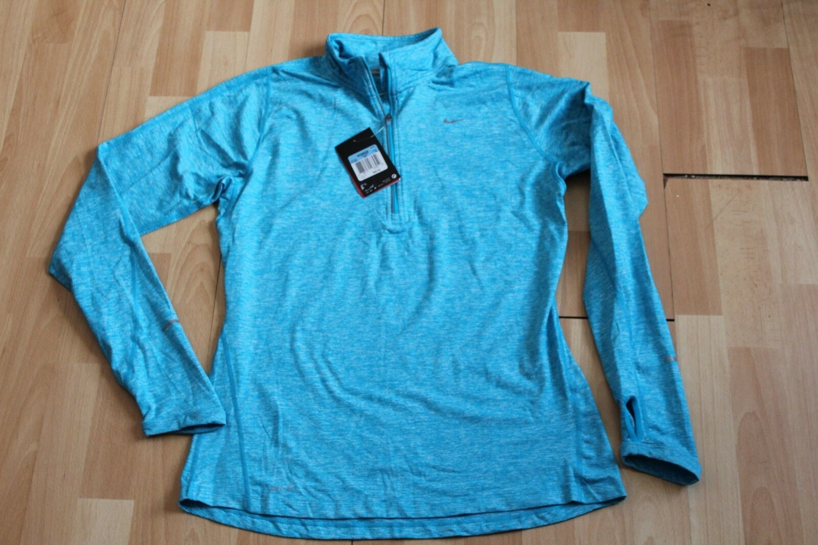 NWT WOMENS NIKE PRO WARM SZ M HALF ZIP LIGHT blueE