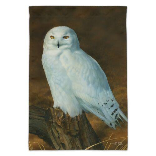 Snowy Arctic Owl on Tree Stump Garden Yard Flag