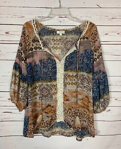 Umgee-USA-Boutique-Women-039-s-S-Small-Brown-Boho-Feather-Lace-Fall-Top-Blouse-Shirt