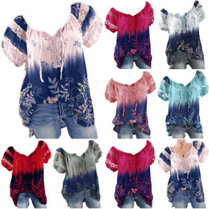 Women-Short-Sleeve-Tops-V-Neck-Lace-Printed-Lace-Tops-Loose-T-Shirt-Blouse-Tops