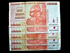 5 x Zimbabwe 50 Billion Dollar banknotes-paper money currency-2008//AA or AB