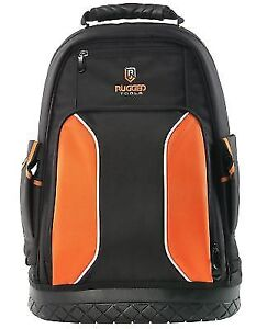 64910e16983 Rugged Tools Pro Tool Backpack - 40 Pocket Heavy Duty Jobsite Bag Storag