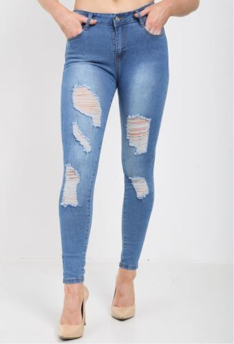 New Womens Ladies Stretchy Destroyed Distressed Faded Skinny Fit Rip Denim Jeans
