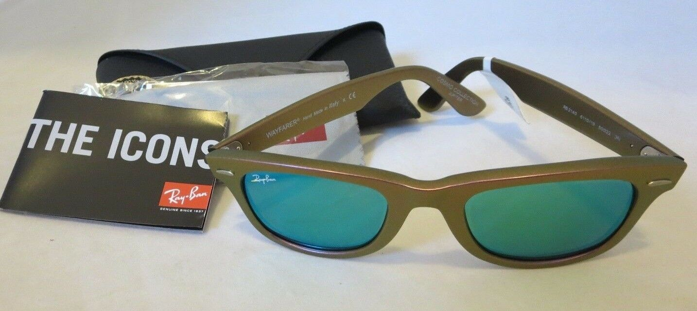 8e4b837c3e72d Authentic Ray-Ban Wayfarer Sunglasses Pink Cosmo Jupiter Green Flash Rb2140  for sale online