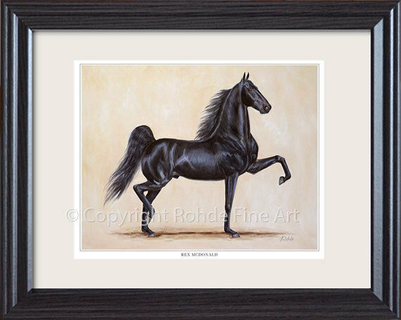 REX MCDONALD  famous AMERICAN SADDLEBrosso HORSE framed equine ART painting