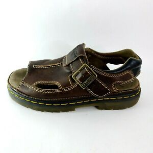 DR-DOC-MARTENS-Mens-12-uk-11-Brown-Leather-Buckle-Slingback-Sandals-8A60