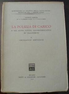 (prl) 1951 La Polizza Di Carico Vol. Ii Titoli Trasporto Antique Book Libro Raro