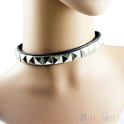 Punk Gothic Black Leather Choker Chain Spike Rivet Buckle Collar Necklace Sale!