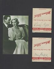 "MARY PICKFORD & CHARLES ""BUDDY"" ROGERS VINTAGE SIGNED MATCHBOOKS AUTOGRAPH  COA"