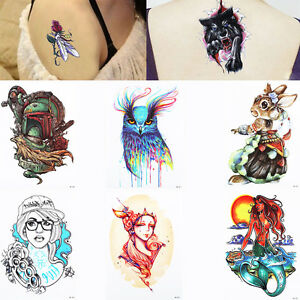 Beauty Women Girl 3d Geometry Skull Wolf Design Temporary Tattoo