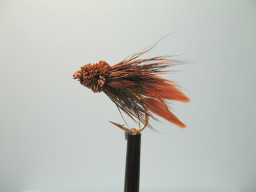 3 x BROWN WITH GOLD BODY MUDDLERS ON SHORT-SHANK HOOKS sizes 10,12 available